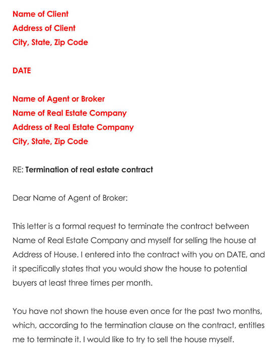Sample Real Estate Contract Termination Letter
