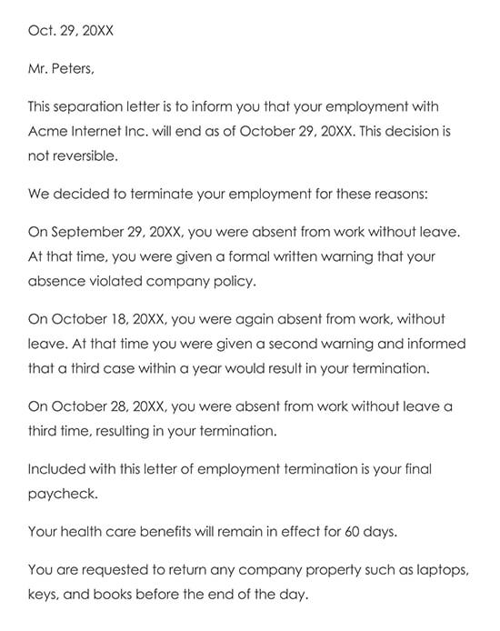 Sample Termination Letter for Cause (Attendance)