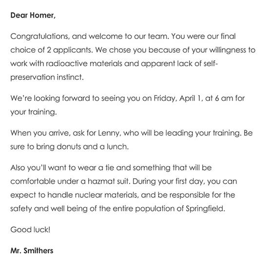 Sample Welcome Aboard Letter