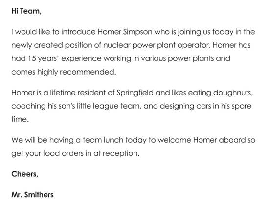 Sample Welcome to the Team Email