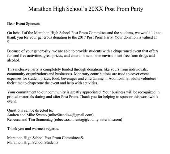 School Sponsor Thank You Letter