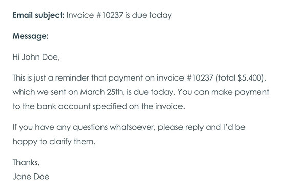 Second Payment Reminder Email On the Day the Payment