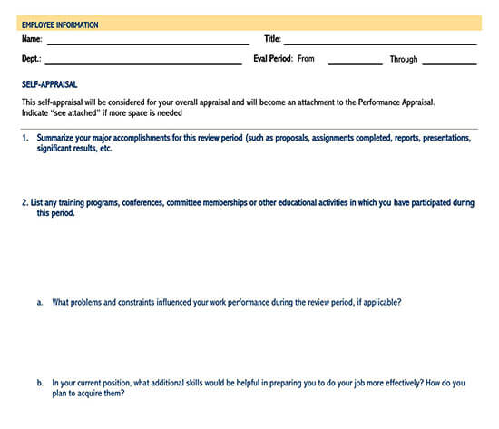 self evaluation word template