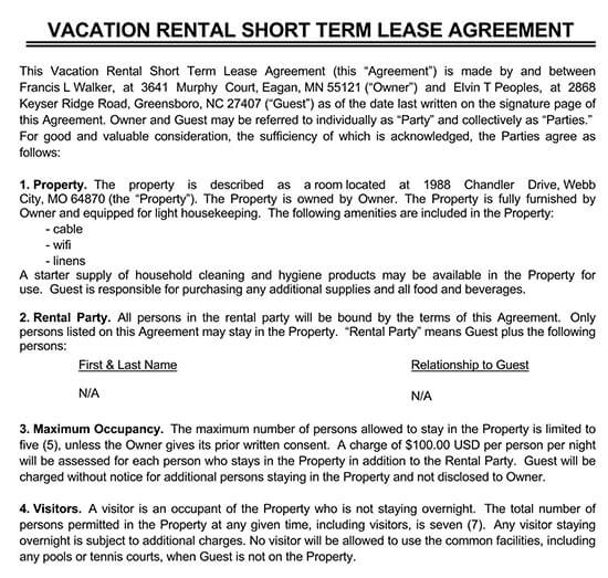 free short term rental agreement template