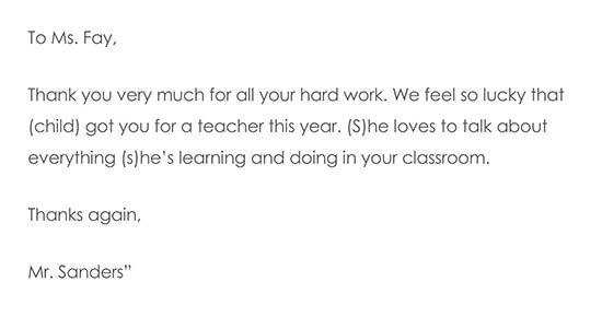 Simple Thank You Note For Teacher