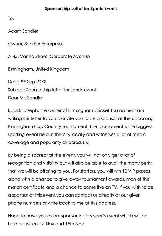 Sponsor Thank You Letter for Sports Event