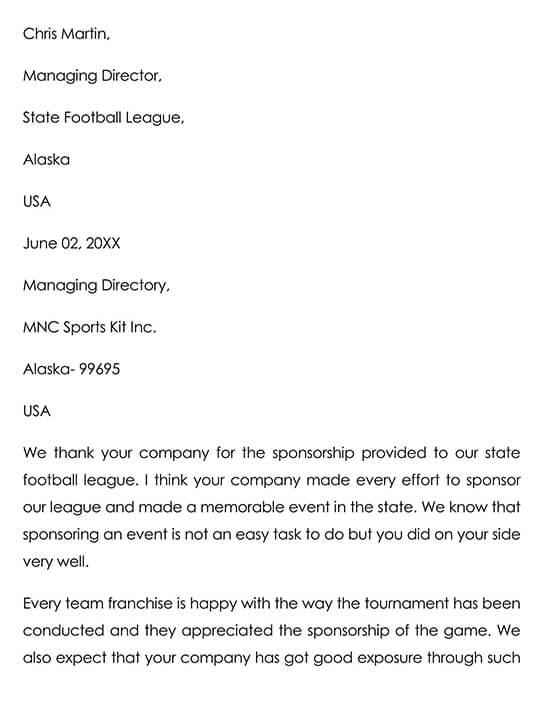 Sports Sponsor Thank You Letter