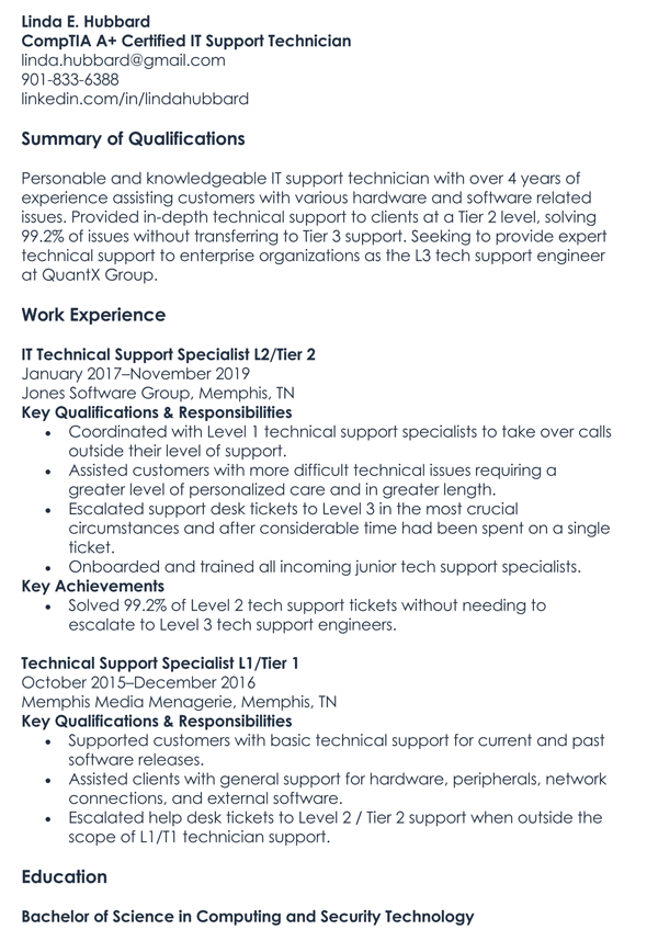 Technical Support Resume