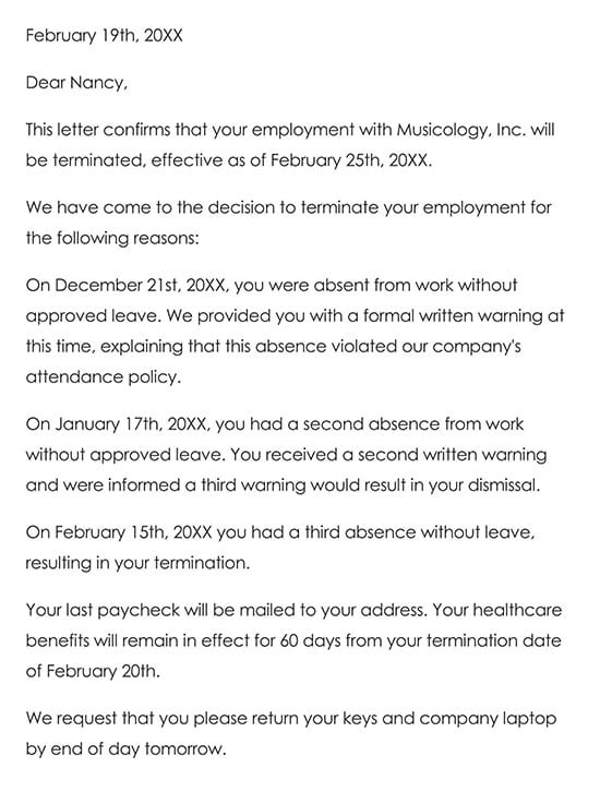 Termination Letter Without Casue Sample 02