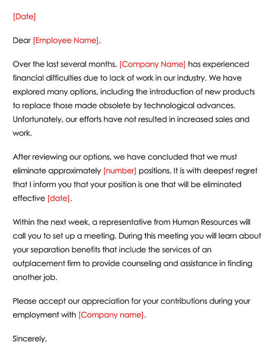 Termination due to layoffs Letter Template