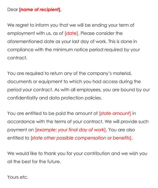 Termination of Contract Letter Sample