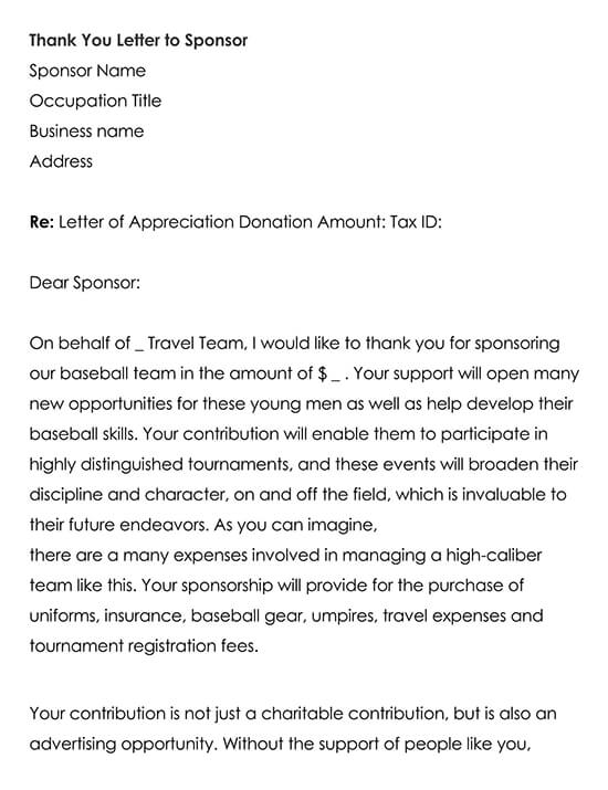 Thank You Letter to Sponsor to Download