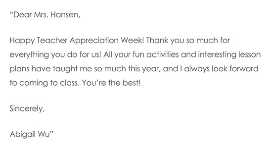 Thank You Note For Teacher Appreciation