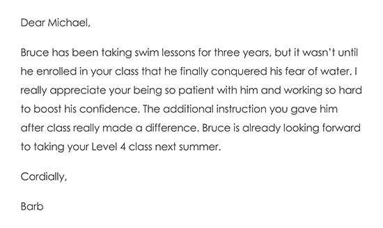 Thank You Note to a Child's Private Instructor or Teacher