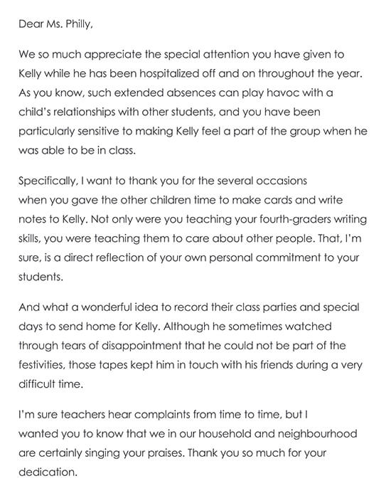 Thank You Note to a Child's Teacher From the Parents