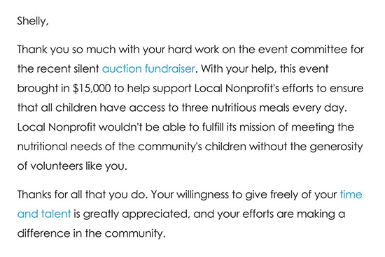 Thank You Note to a Volunteer After an Event