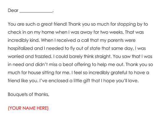 Thank You Notes for House Sitter Template