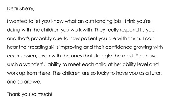 Thank you Note To a Literacy Volunteer