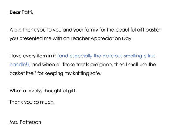Thank you Note for a Teacher Appreciation Day Gift