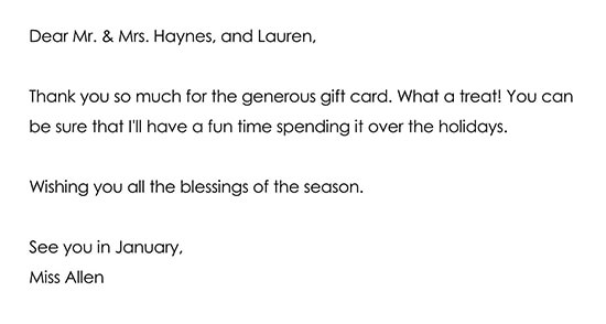 Thank you Note to Parents for a Gift Card