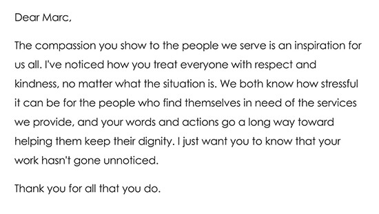 Thank you Note to Volunteer That Works Directly With the Less Fortunate