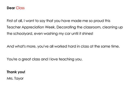 Thank you note for Teacher Appreciation Week Activities