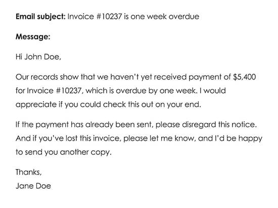 Third Payment Reminder Email One Week After Late Payment