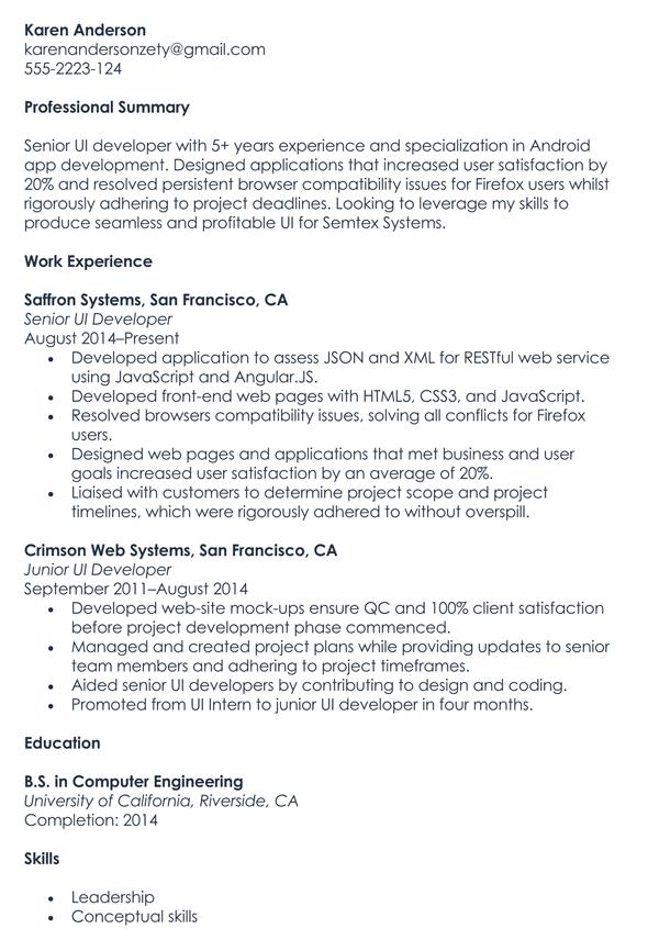 UI Developer Resume Sample