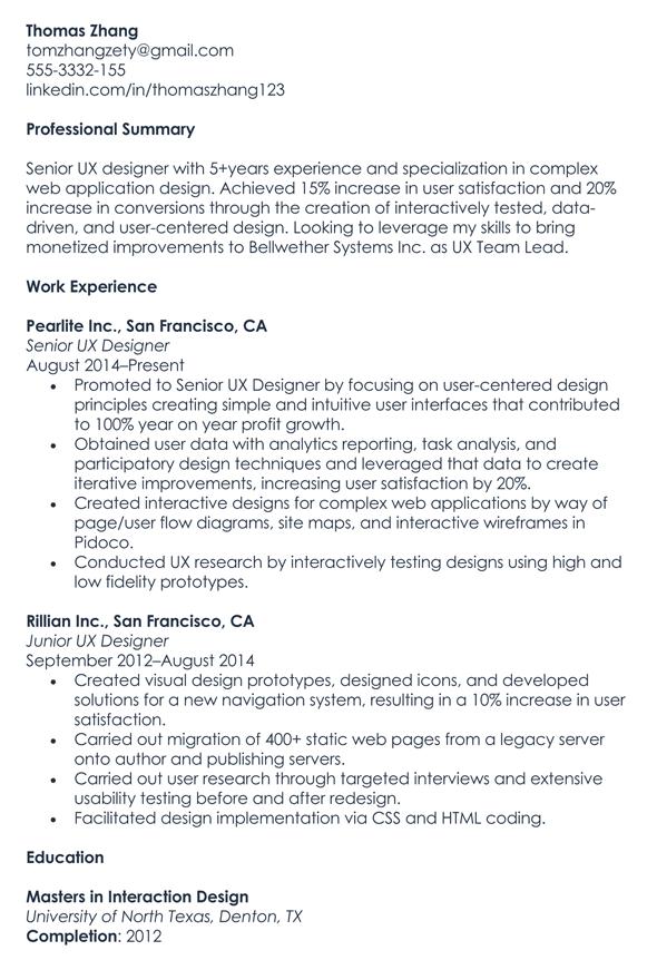 UX Designer Resume Sample