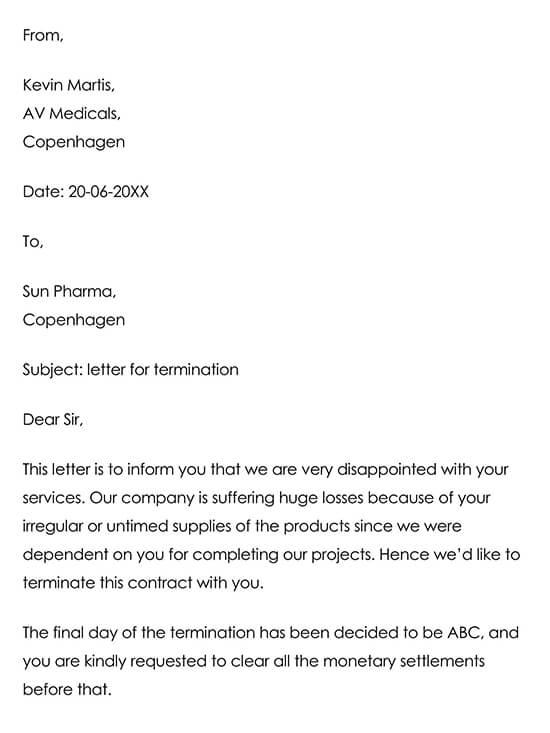 Vendor Termination Email Example