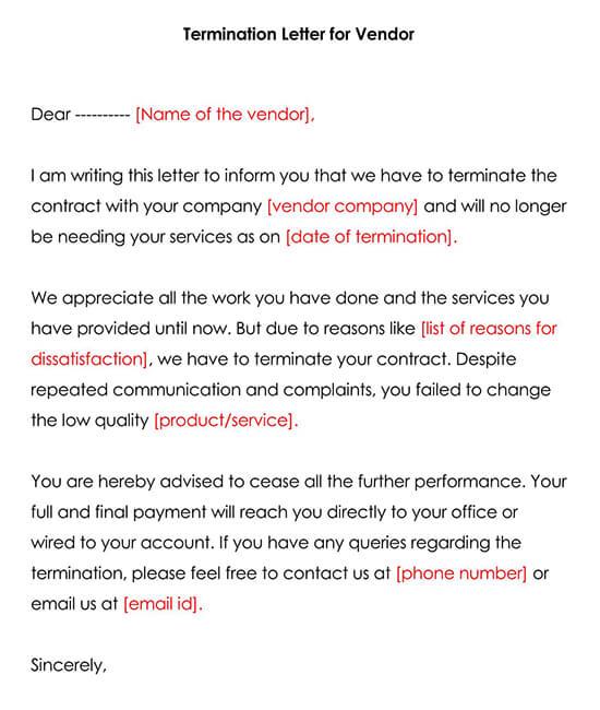 Vendor Termination Letter Template 03