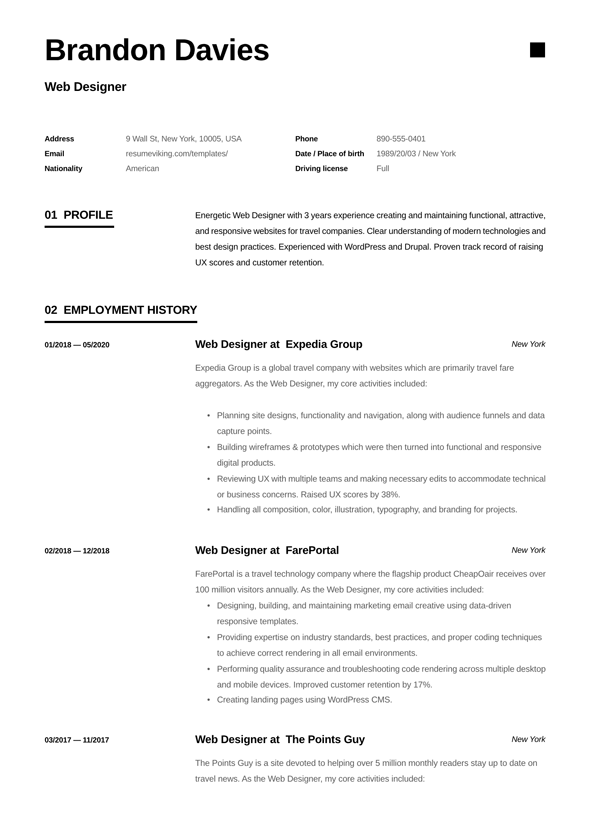 Editable Web Developer Resume Examples 2019