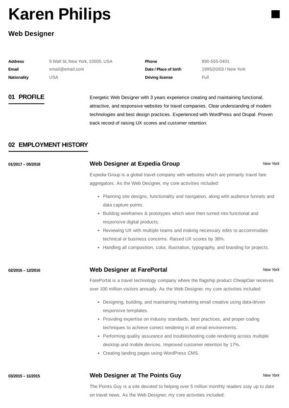 Printable Web Designer Resume Free