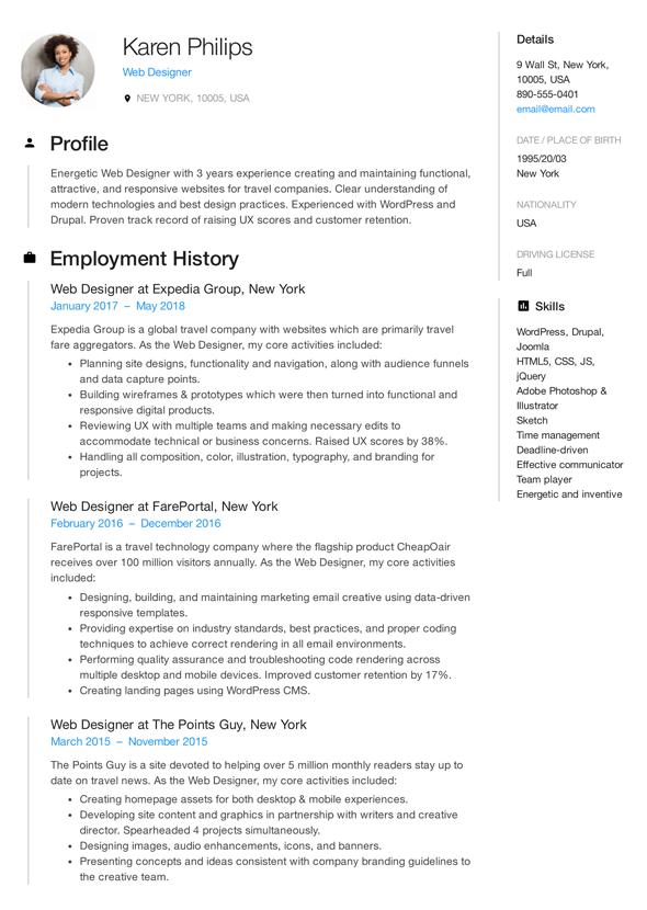 Web Developer Resume Examples 2019