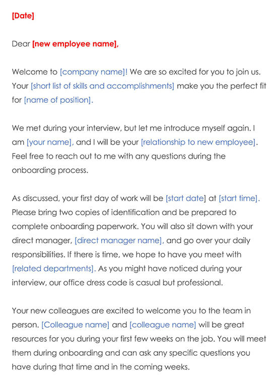 Welcome Letter Template Word Example