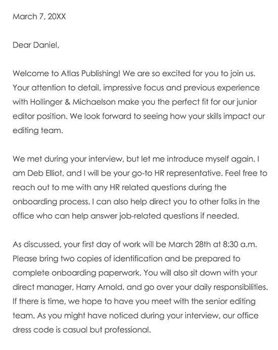 Welcome Letter Template Word Sample