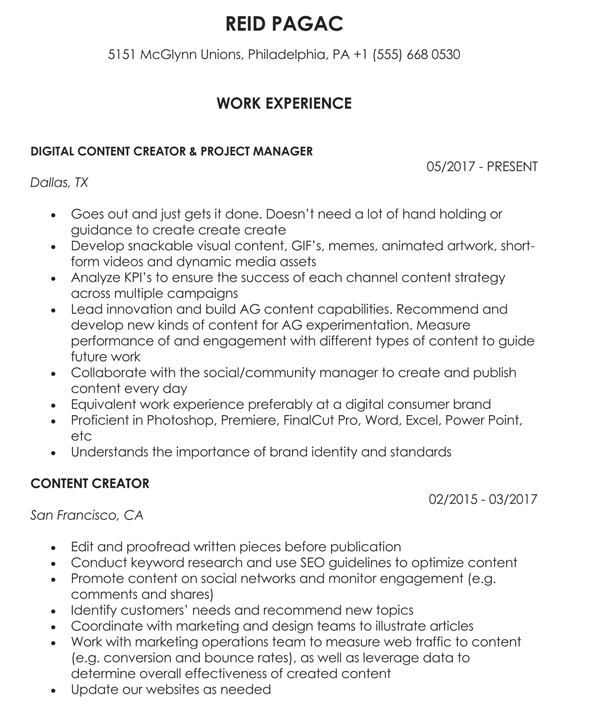 Youtube Content Creator Resume