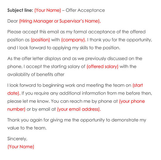 Acceptance of Job Email Template
