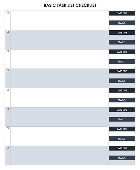 Basic Task List Checklist