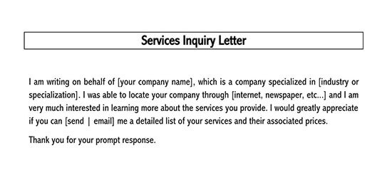 job inquiry letter sample