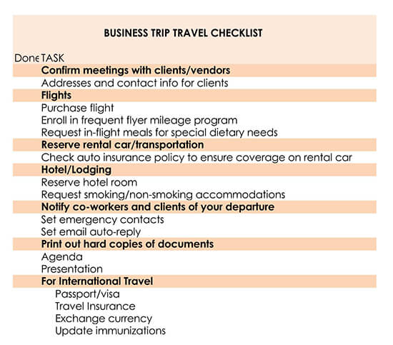 Business Travel To-Do Checklist Template