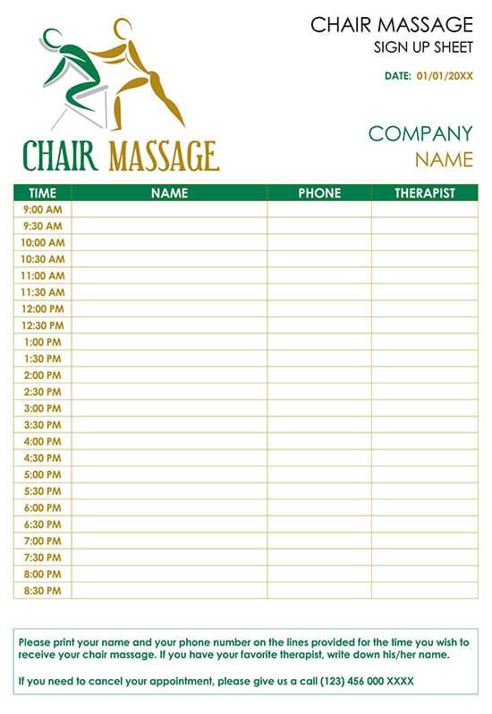 Chair Massage Sign Up Sheet Template