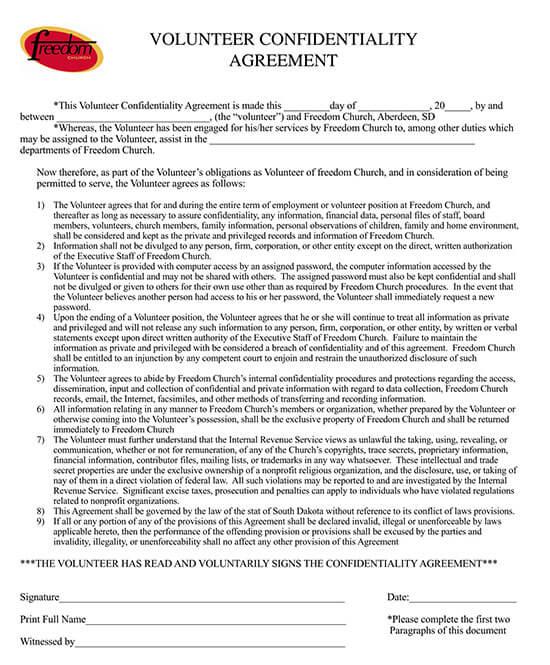 non disclosure agreement church