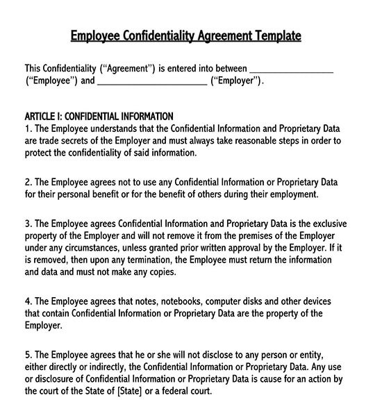 employee confidentiality agreement pdf  employee confidentiality agreement template word  employee confidentiality agreement policy  human resources employee confidentiality agreement template
