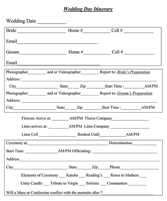 Example of Photo Video Wedding Day Itinerary