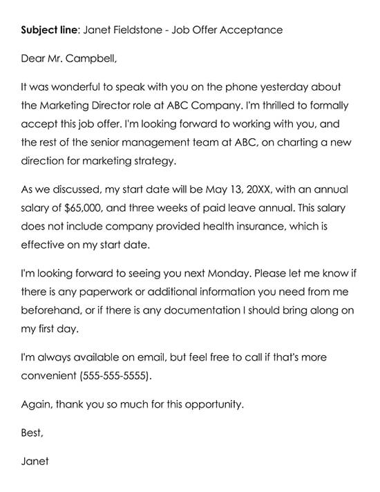 Example of an Email Accepting a Job