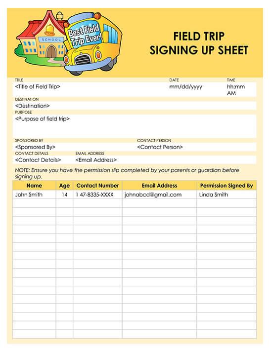 Field Trip Sign Up Sheet Template