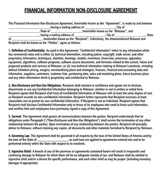 non disclosure agreement format for vendors