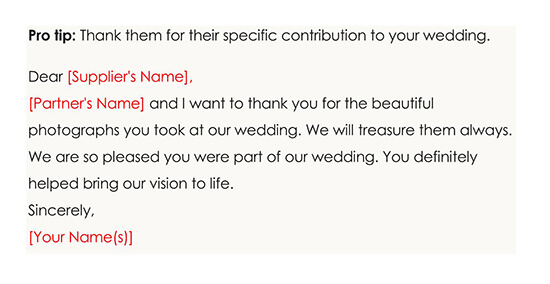 For Thanking Your Wedding Suppliers