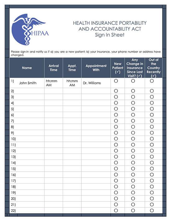 HIPAA Sign In Sheet Template